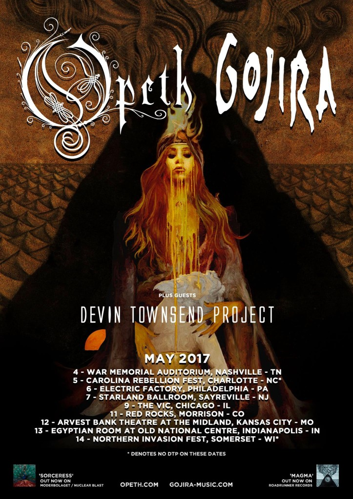Opeth, Gojira, DTP Tour poster